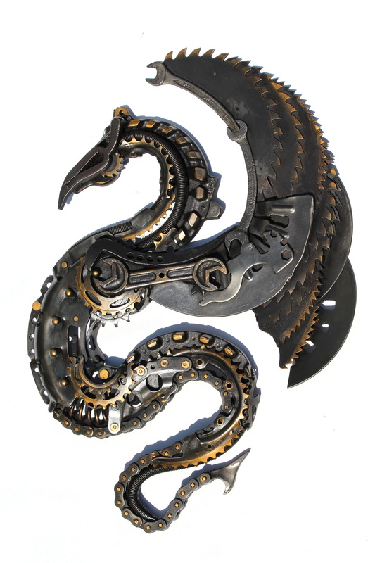 Dragon-wall sculpture